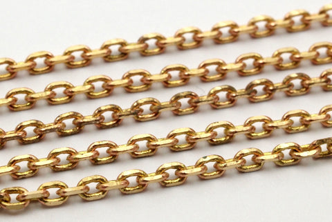 10 M Faceted Raw Brass Soldered Chain (3.80x2.60x0.75 Mm) W5-10 ( Z097 )