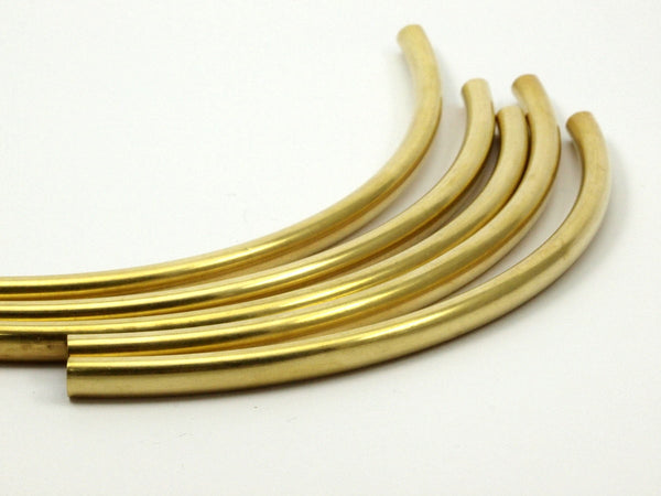 10 Raw Brass Curved Tube Findings (5.50x130mm)