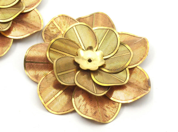 Raw Brass Flower Setting , Findings 40 Mm  D026 C047
