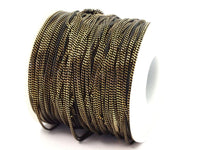 Black Antique Brass, 3 M (1.5mm) Black Antique Brass  Faceted Soldered Curb Chain - Ys009  ( Z046 )