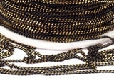 Black Brass Chain, 5 Meters - 16.5 Feet (1.5mm) Black Antique Brass Sparkle Bright Faceted Soldered Curb Chain - Z046