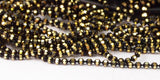 5 M 1.2 Mm Black Gold Brass Faceted Ball Chain  ( Z025 )