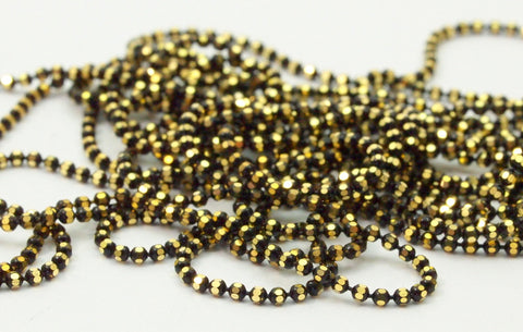 10 M 1.2 Mm Black Gold Brass Faceted Ball Chain  ( Z025 )