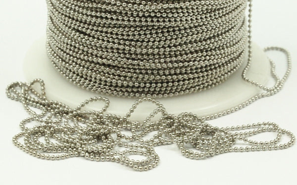 1mm Silver Ball Chain, 20 M. (1mm) Silver Tone Brass Faceted Ball Chain - W69-1  ( Z044 )