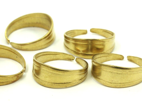 19mm Brass Rings - 50 Raw Brass Adjustable Rings - (19mm) Mn34