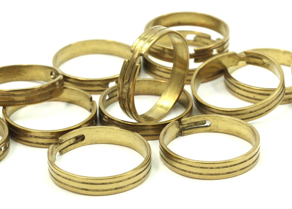 Brass Ring Setting - 10 Raw Brass Adjustable Rings  (18mm)  Mn43