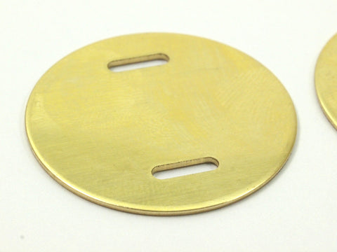 10 Raw Brass 28x0.80 Mm Stamping Blank Disc, 2 Hole ,   D135--N663