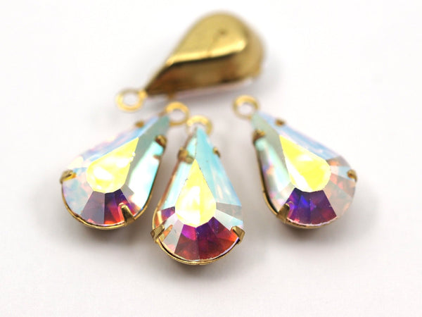 5 Aurore Boreale Swarovski Crystal Drop With Raw Brass Prong Setting 13x8 Mm Y089