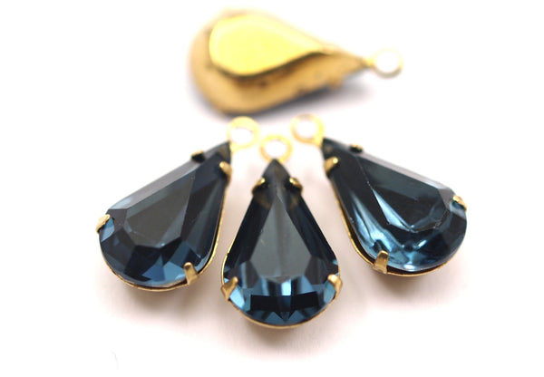 5 Indicolite Swarovski Crystal Drop with Raw Brass Prong Setting 13x8 mm
