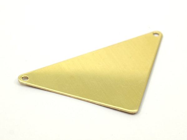 Brass Triangle Blank, 6 Raw Brass Triangle Blanks with 2 Holes (56x41x41x0.80mm)  B0204