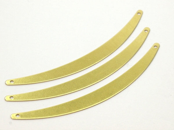 Brass Choker Findings - 12 Raw Brass Choker Findings With 2 Holes (80x7x0.60mm) B0039