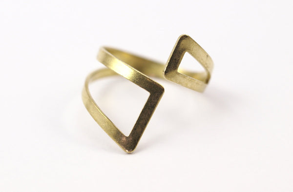10 Raw Brass Adjustable Ring Setting - 16-17mm / 23 Gauge Mn33
