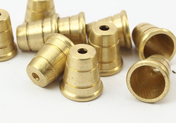 12 Raw Brass Industrial Cone End Caps, Findings, (13.4x12.8 Mm) D047