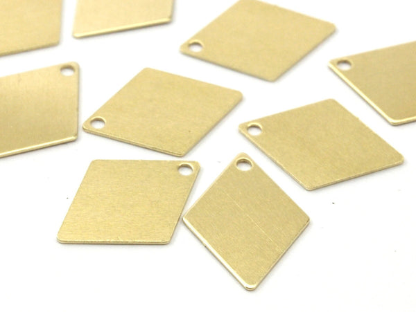 Brass Diamond Charm, 25 Raw Brass Diamond Charms, Pendant, Findings (17x12mm) D304
