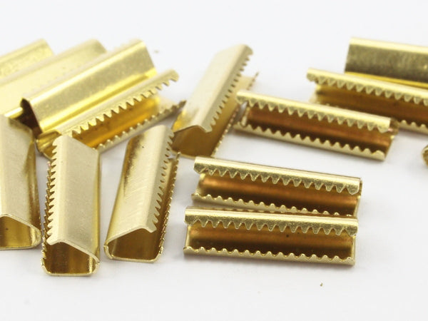 20 Raw Brass Ribbon Crimp Ends Without Loop, Findings (6 X 19 Mm) D342