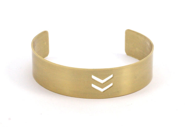 4 Raw Brass Cuffs, Bracelets, Blank Bangles With Chevron Holes ( Width 15x145x0.80mm) Brc029