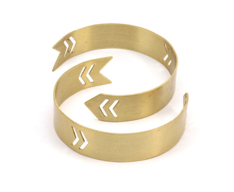 Brass Arrow Cuff - 2 Raw Brass Arrow Cuff Bracelet With Chevron Blank Bangle Without Holes (15mm) Brc028