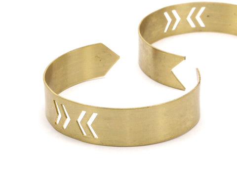 Arrow Chevron 2 Raw Brass Arrow Cuff Bracelet with Chevron Blank Bangle without Holes (15x145x0.80mm)  Brc041