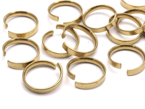 Brass Adjustable Ring, 30 Raw Brass Adjustable Rings (18mm) Mn75