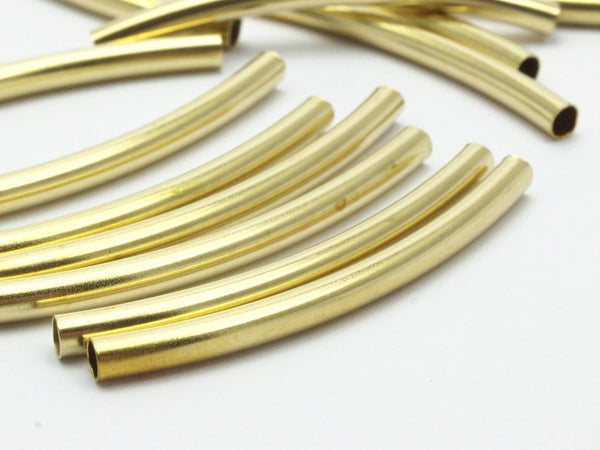 24 Raw Brass Curved Tubs (3x40 Mm) Bs 1414