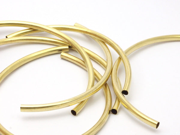 Choker Curved Tubes - 6 Raw Brass Curved Tubes (5x115mm) Bs 1639
