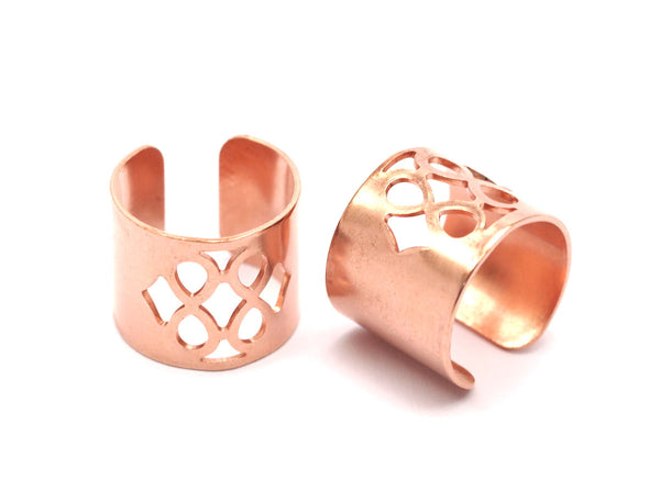 Copper Riddled Ring - 10 Raw Copper Adjustable Riddled Ring Settings - 16-17mm / 23 Gauge Mn84