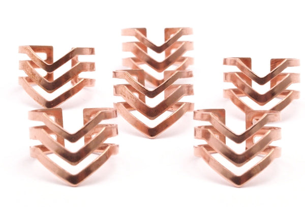 Copper Chevron Ring - 20 Raw Copper Chevron Adjustable Ring Settings - 16-17mm / 23 Gauge Mn87