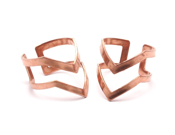 Chevron Boho Ring, 10 Raw Copper Chevron Adjustable Ring Settings - (16-17mm) Mn83