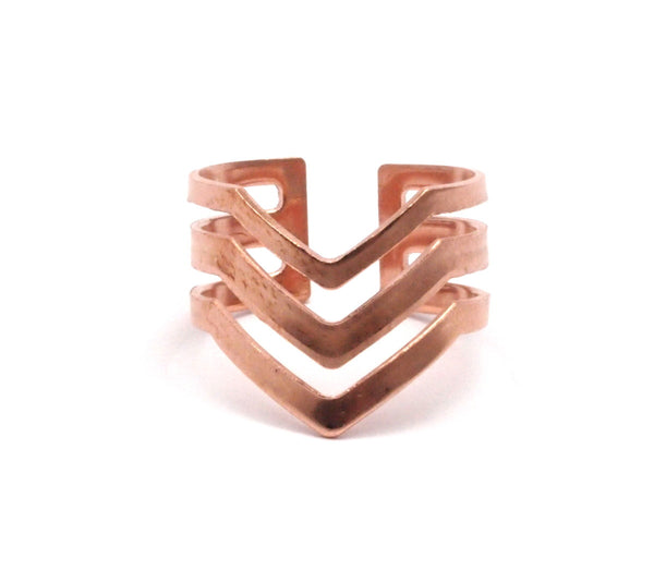 Bohemian Copper Ring, 10 Raw Copper Chevron Adjustable Ring Settings (16-17mm)  23 Gauge Mn87