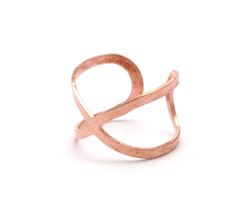 Copper Infinity Ring, 20 Raw Brass Adjustable Ring Settings (16-17mm)Mn88