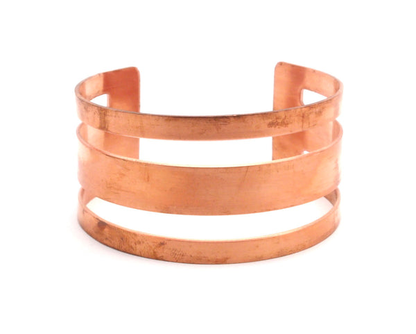 Copper Cuff Bracelet - 2 Raw Copper Cuff Bracelet Bangles (30x156x1mm) Brc089