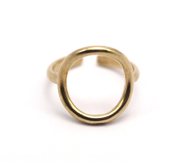 Adjustable Circle Ring - 10 Raw Brass Adjustable Circle Rings - (14-15mm) Mn71