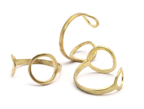 Two Circled Ring - 10 Raw Brass Adjustable Ring With Two Circles - (18mm) Mn74