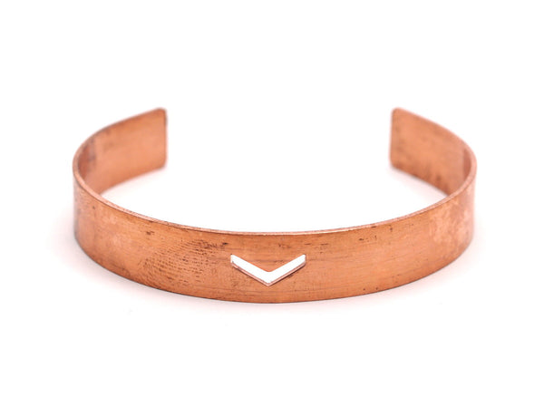 Copper Chevron Bracelet - 3 Raw Copper Chevron Bracelet Stamping Blanks , Cuff (10x145x1mm) Brc080