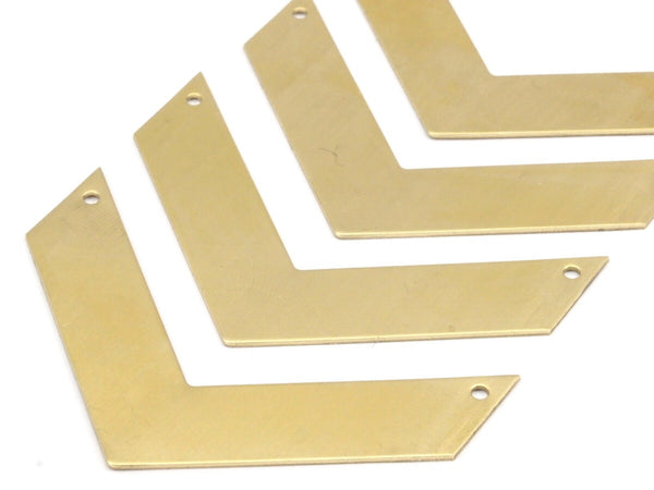 8 Raw Brass Chevrons 2 Holes (60x15x0.80mm) A0831--N608