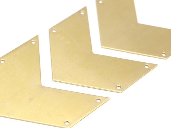 7 Raw Brass Chevrons 4 Holes  (50x25x0.80mm) A0899--N642
