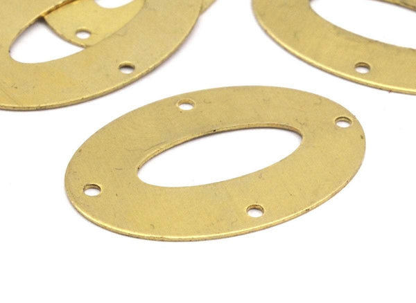 Middle Hole Connector, 12 Raw Brass Oval with 4 Holes And Middle Hole Connectors  (30x20mm)  A0976
