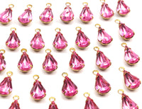 8 Light Rose Swarovski Crystal Drop With Raw Brass Prong Settings 10x6mm