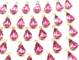 8 Light Rose Swarovski Crystal Drop With Raw Brass Prong Settings 10x6mm K310