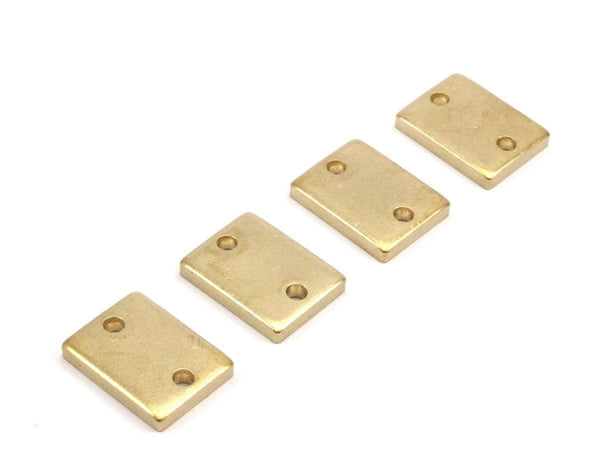 Tiny Brass Button, 6 Raw Brass Button Rectangle Blanks with 2 Holes  (20x15x3mm) Y208