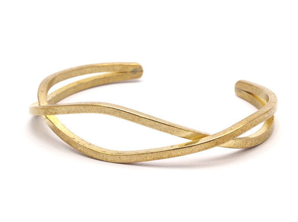 Raw Brass Wire Bracelets ( 67x16x52mm) Brc054