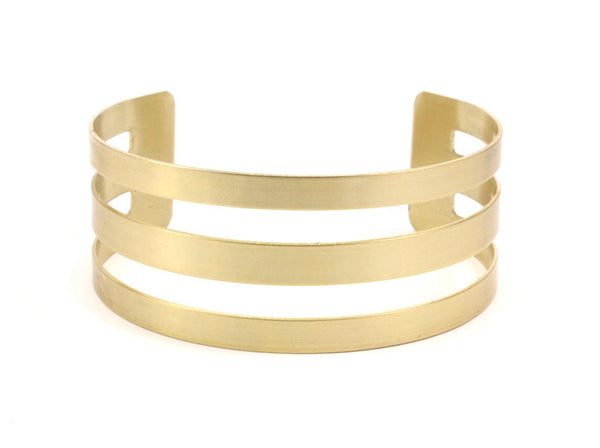 Brass Striped Cuff - 2 Raw Brass Cuff Bracelet Bangle (25x156x0.80mm)   BRC135