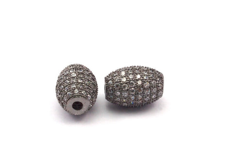 1 Micro Pave CZ Cubic Zirconia Bead (11x8mm) Hole Size 2mm W00006