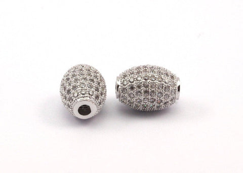 1 Micro Pave CZ Cubic Zirconia Bead (11.50x8.50mm) Hole Size 2mm W00006