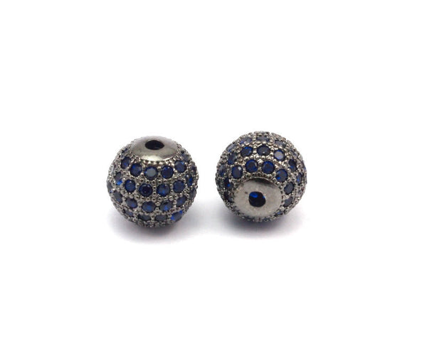 Cubic Zirconia Ball Bead, 1 PC Navy Micro Pave CZ Cubic Zirconia 10 mm Ball Bead W00003