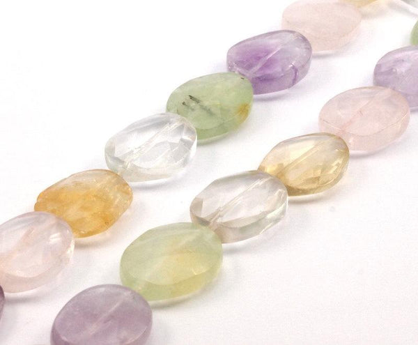 Prehnite Amethyst Citrine Pink Quartz Oval 19x15 Mm Gemstone Beads Full Strand G259
