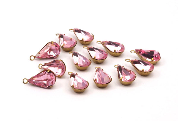 5 Rose Pink Swarovski Crystal Drop with Raw Brass Prong Setting 13x8 mm   Y310