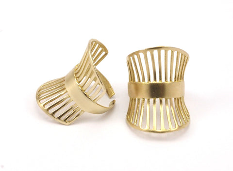 Bras Cage Ring - 4 Raw Brass Adjustable Cage Rings Brc243--N083