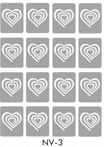 Brand New Vinyl Nail Stickers Spiral Hearts NV-3