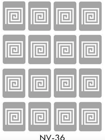 Brand New Vinyl Nail Stickers Square Spiral NV-36